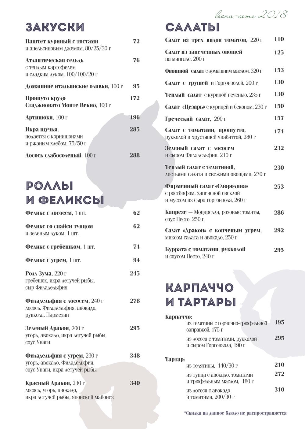 Основное меню ресторана СМОРОДИНА